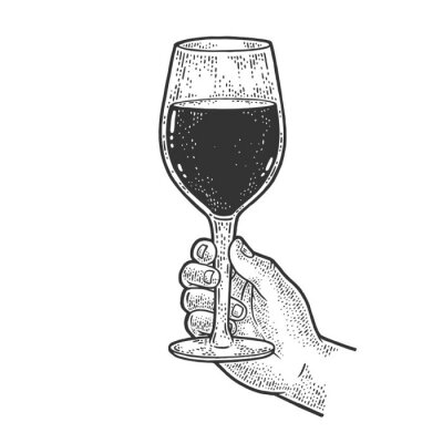 huge glass with wine in hand sketch engraving vector illustration. T-shirt apparel print design. Scratch board imitation. Black and white hand drawn image.