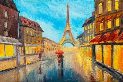 Papiers peints Huile, peinture, tour Eiffel, france