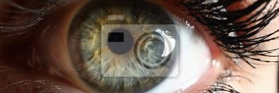 Papiers peints Human green eye supermacro closeup background. Check vision concept