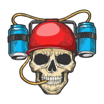 Human skull in beer soda helmet drinker sketch engraving vector illustration. T-shirt apparel print design. Scratch board style imitation. Black and white hand drawn image.
