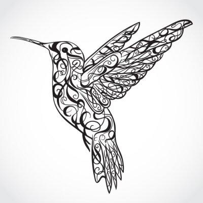 Papiers peints Hummingbird. L'art du tatouage. Rétro bannière, invitation, carte, scrapbooking. t-shirt, sac, carte postale, poster.Highly détaillée style vintage dessinés à la main illustration vectorielle