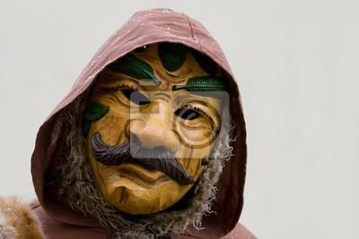 Hunter masque de carnaval en bois.