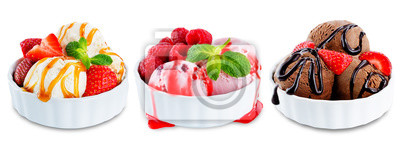 Ice cream with berries and mint leaves in a bowl on a white background