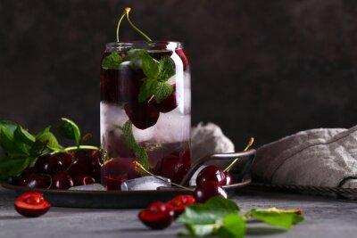 ice tea lemonade with fresh cherries and mint