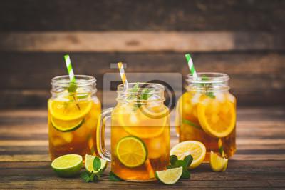 Ice tea with lemon, lime and mint