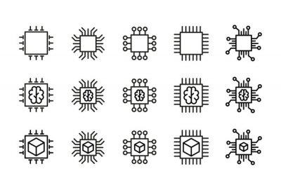 Papiers peints Icon set of chip.