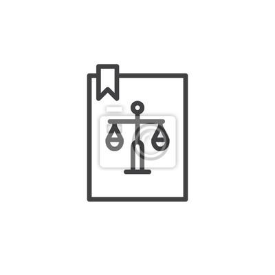 Papiers Peints Icone De Ligne De Livre De Loi Signe Vectoriel De Contour Pictogramme