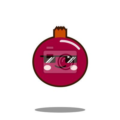 Icone De Personnage De Dessin Anime De Fruits De Grenade Kawaii