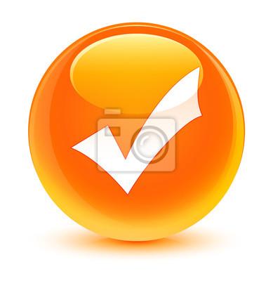 Icone De Validation Orange Vif Bouton Rond Papier Peint Papiers