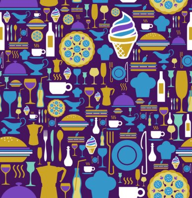 Papiers peints icône Gourmet mis seamless.