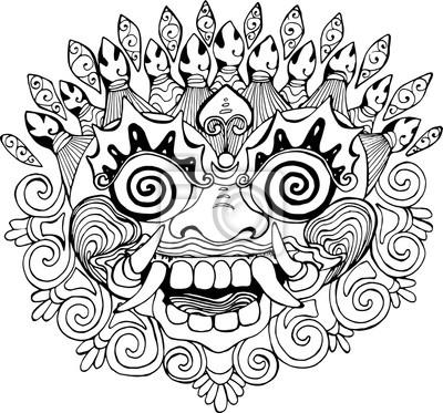 la moitié meilleur prix variété de dessins et de couleurs Papiers peints: Iilustration dun masque thaïlandais. dessin noir et blanc de