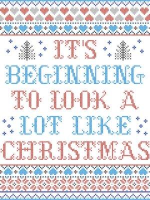 Il commence à ressembler à un modèle sans couture de vecteur scandinave de Noël inspiré par la culture nordique, hiver festif au point de croix avec cœur, flocon de neige, étoile, neige, sapin de Noël