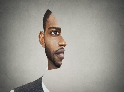 Papiers peints Illusion optique avant portrait avec des sections découpées de celui-ci