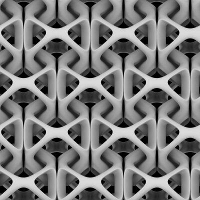 Papiers peints Illustration 3D, chaîne abstraite matte blanche sur fond noir
