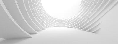 Papiers peints Illustration 3D du bâtiment circulaire blanc. Papier peint géométrique moderne. Design technologique futuriste