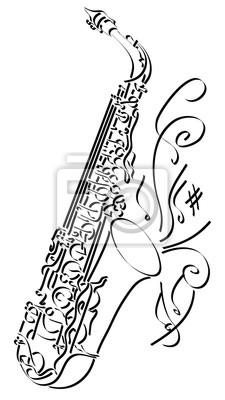 Dessin Saxophone illustration abstraite de vecteur dessin de saxophone. papier peint