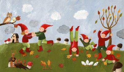 Papiers peints Illustration acrylique des enfants mignons - nains dansent dans la fa