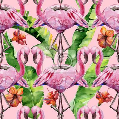 illustration aquarelle doiseau flamant rose tropical des. Black Bedroom Furniture Sets. Home Design Ideas