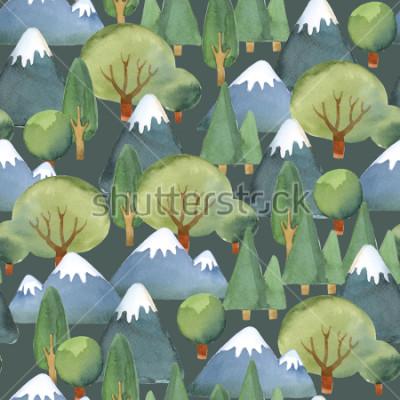 Papiers peints Illustration aquarelle Modèle sans couture des ensembles d'arbres et des montagnes bleues sur fond sombre