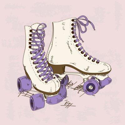 Papiers peints Illustration avec des patins à roulettes rétro