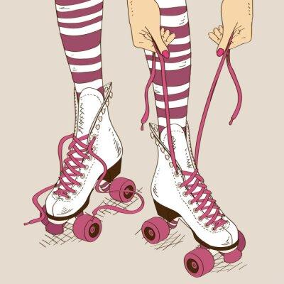 Papiers peints Illustration avec jambes de femmes en patins à roulettes rétro