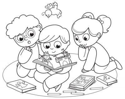 Papiers peints Illustration coloration des amis, lire un livre pop-up ensemble.