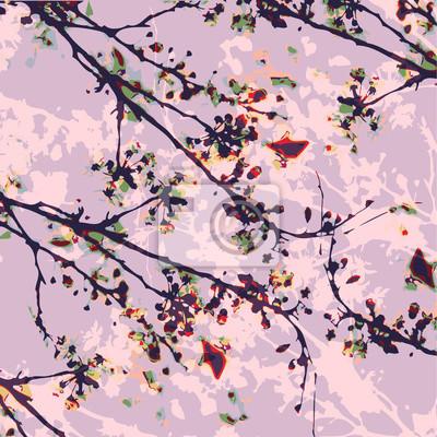 Illustration Couleur Deau De Fleur Japonaise Papier Peint Papiers
