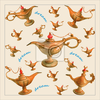 Illustration d'aquarelle de main de la lampe magique de génie d'Aladdin des nuits arabes.