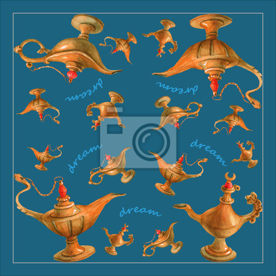 Illustration Daquarelle De Main De La Lampe Magique De Genie Papier