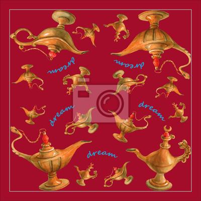 Illustration d'aquarelle de main de la lampe magique de génie d'Aladdin des nuits arabes. Fond de couleur cerise, design 2. Image pour serviettes, serviettes ou oreillers