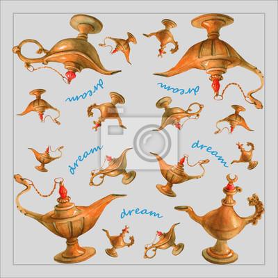 Illustration d'aquarelle de main de la lampe magique de génie d'Aladdin des nuits arabes. Fond gris, design 2. Image pour serviettes, serviettes ou oreillers.