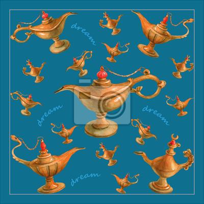 Illustration d'aquarelle de main de la lampe magique de génie d'Aladdin des nuits arabes. Fond lumineux turquoise, design 1. Image pour serviettes, serviettes ou oreillers
