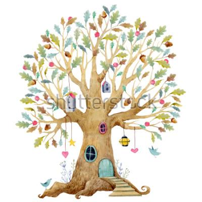 Papiers peints Illustration d'arbre aquarelle pour enfants, arbre généalogique, arbre généalogique. arbre de fée mignon, illustration pour enfants