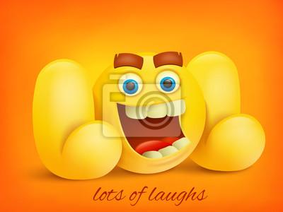 Illustration De Concept Lol Avec Personnage Emoji Jaune Papier Peint