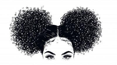 Papiers peints Illustration de fille beauté bouclée isolée sur fond clair. Double pains aux cheveux longs. Main dessiner idée pour cartes de visite, modèles, web, brochure, affiches, cartes postales, salon
