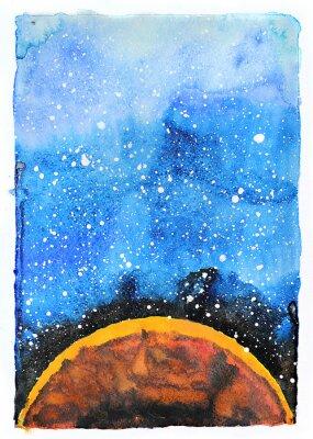 Papiers peints Illustration de galaxie d'aquarelle. Planète Mars.