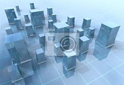 illustration de la grille de ville moderne bleu ou fond
