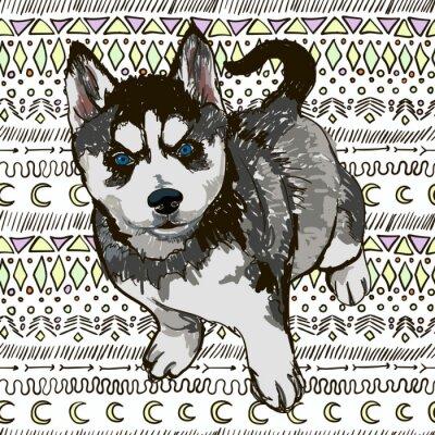 Papiers peints Illustration de la race chien Husky