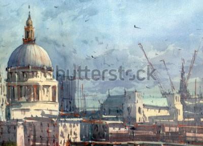 Papiers peints illustration de ville aquarelle