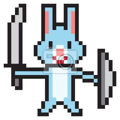 Papiers Peints Illustration Dessin Pixel Art Lapin Guerrier
