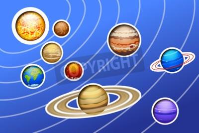 Papiers peints Illustration, dessiné, solaire, système, Lignes, bleu, fond