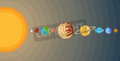 Papiers peints Illustration du système solaire dans un style plat.