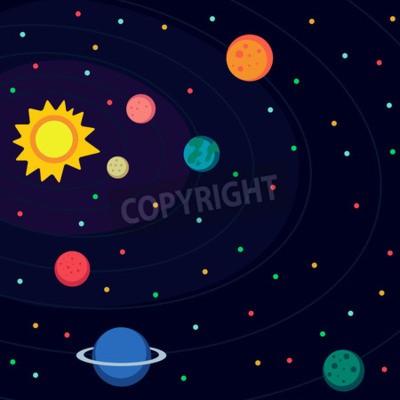 Papiers peints Illustration en style plat sur l'espace extra-atmosphérique.