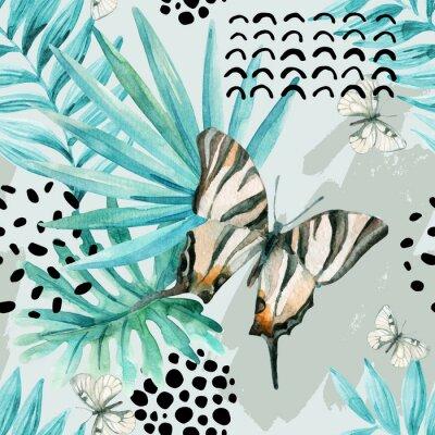 Papiers peints Illustration graphique d'aquarelle: papillons exotiques, feuilles tropicales, éléments de doodle sur fond grunge.