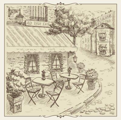Papiers peints Illustration main dessinée, café de la rue dans la vieille ville.