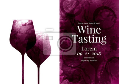 Papiers peints Illustration of two wine glass es, red wine stains. Background full of color with circles and wine drops. Idea for party or event invitation, brochure, wine list, promotion, tasting.