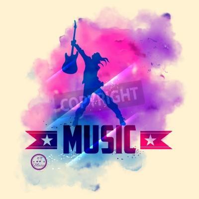 Papiers peints Illustration, rock, étoile, guitare, musical, fond