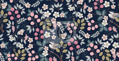 Papiers peints Illustration vectorielle d'un motif floral sans couture avec oiseaux mignons au printemps pour mariage, anniversaire, anniversaire et fête. Conception pour bannière, affiche, carte, invitation et albu