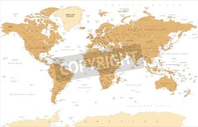 Papiers peints Illustration vectorielle de carte du monde doré vintage politique.