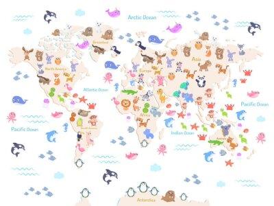 Papiers peints Illustration vectorielle de la carte du monde avec des animaux pour des enfants. Design plat.